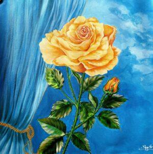 Cành hồng vàng
