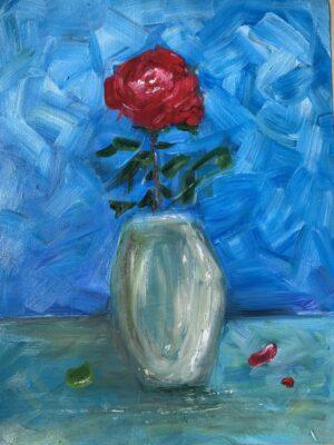 Cành hồng đỏ