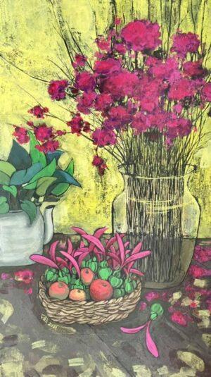 Tĩnh vật bình hoa màu hồng