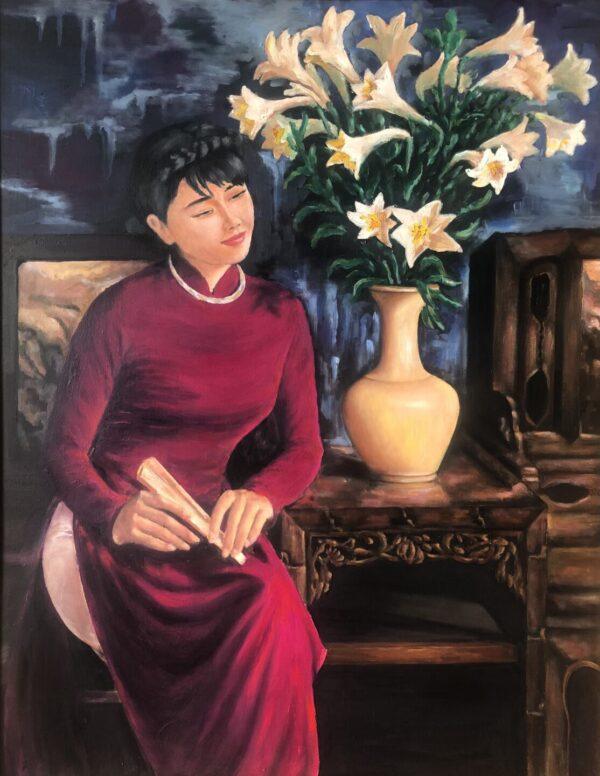 Thiếu nữ bên hoa huệ