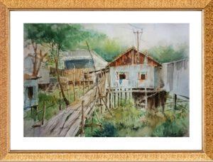 Phong cảnh làng ven sông